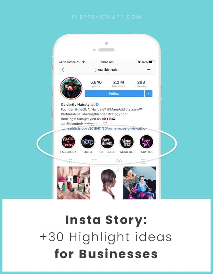 Insta Story Highlight ideas for business