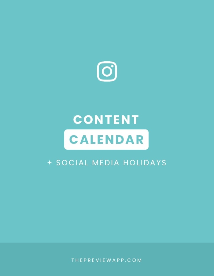Instagram Content Calendar in Preview App